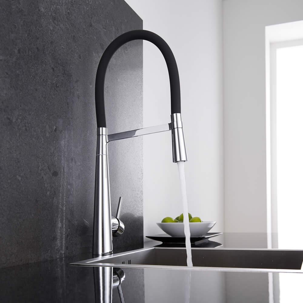 Miscelatore lavello cucina nero con doccia estraibile - Rubinetti per cucina franke ...