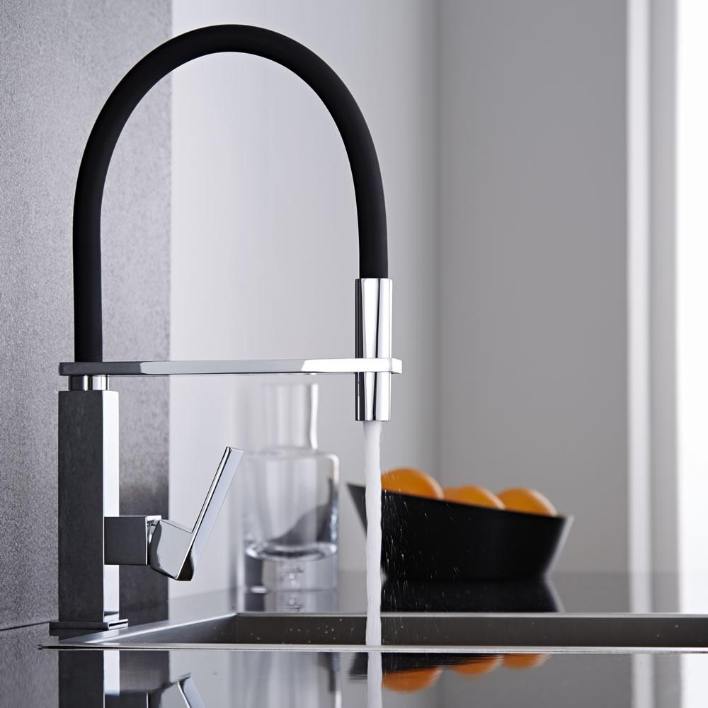 Miscelatore lavello cucina nero con doccia - Carrello cucina nero ...