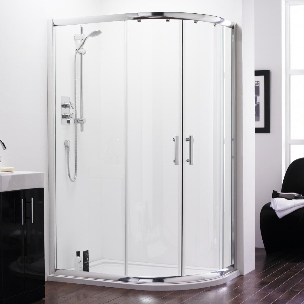 Cabina box doccia semicircolare con due ante scorrevoli e 2 ante fisse 1200x800mm con piatto doccia - Box doccia ante scorrevoli ...