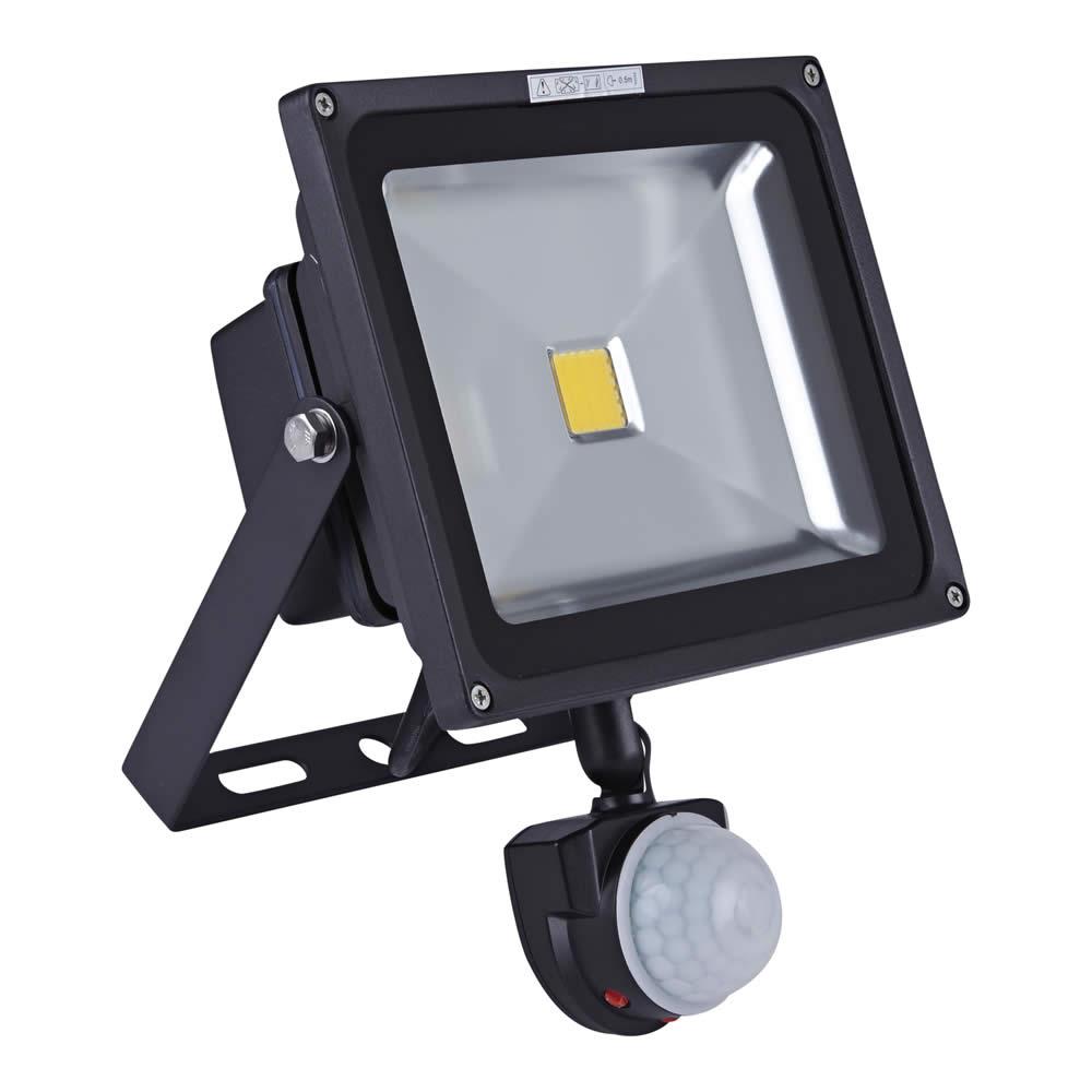 Faro Proiettore LED 30W con Sensore di Movimento con Struttura Nera