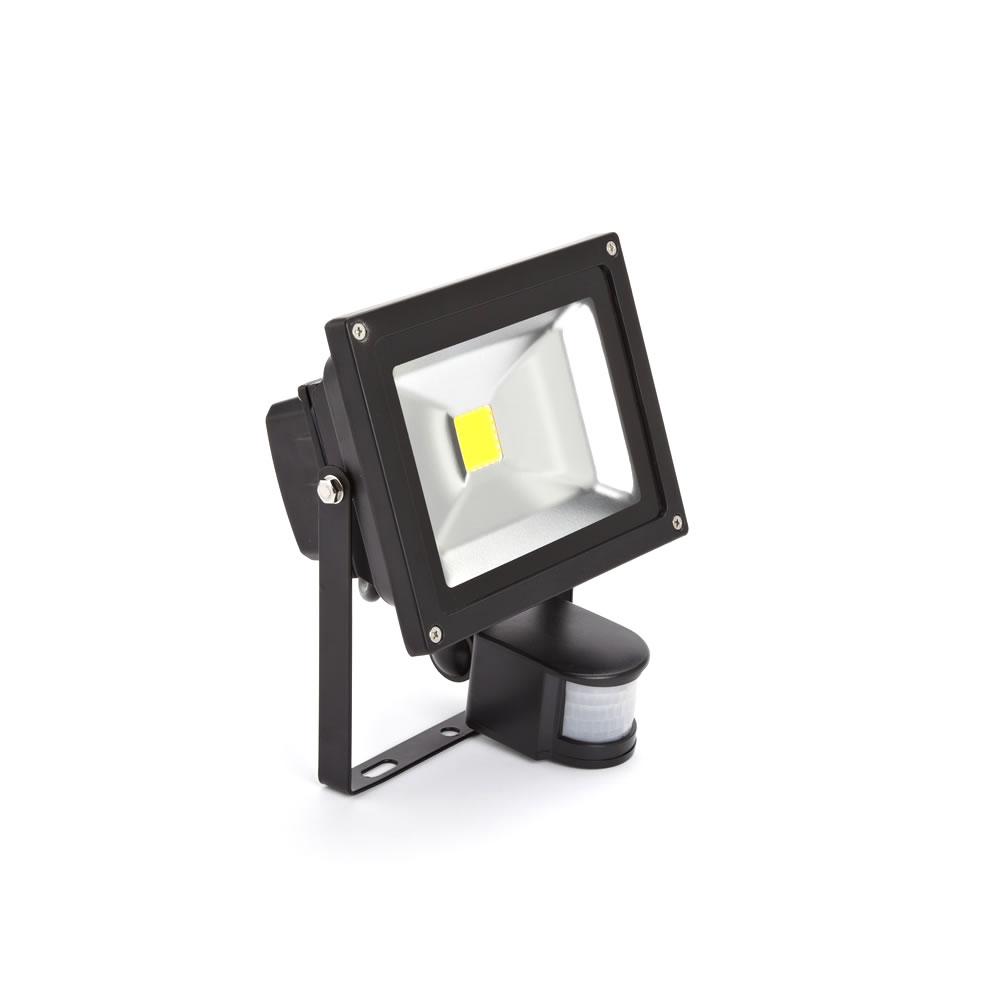 Faro Proiettore LED 20W con Sensore di Movimento con Struttura Nera