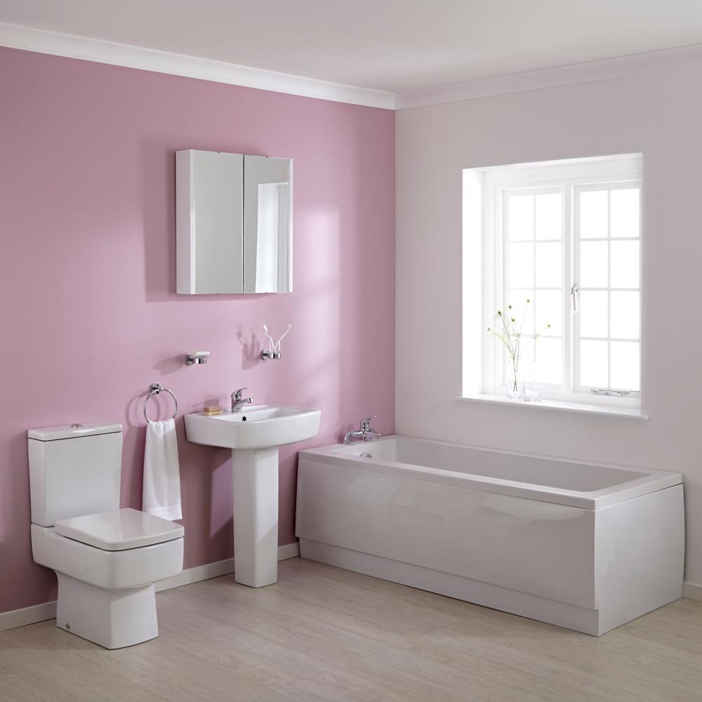 Set Completo per Stanza da Bagno con Vasca 1700mm, Lavabo e Sanitario in Stile Minimalist