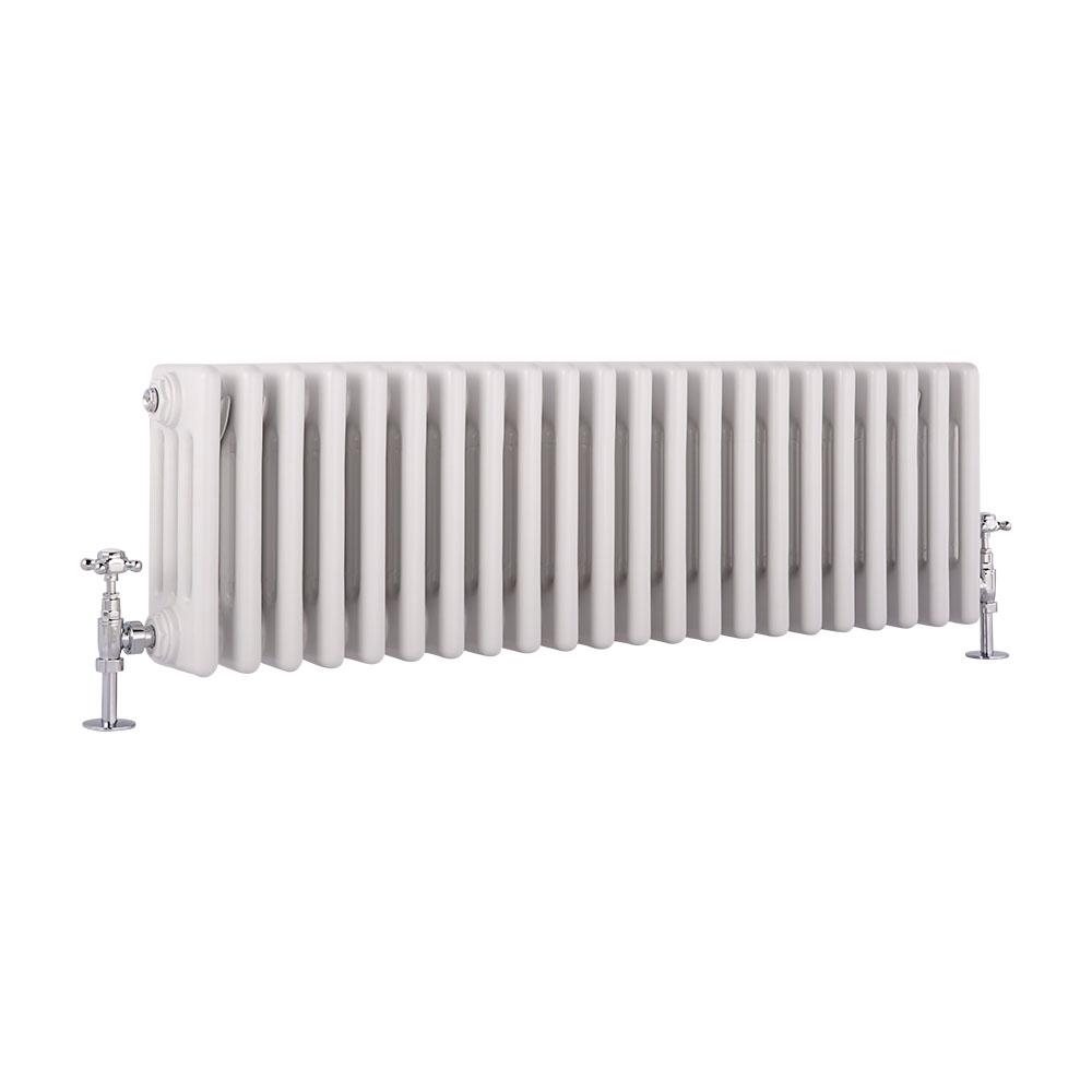 Radiatore di Design Orizzontale a 4 Colonne Tradizionale - Bianco - 300mm x 990mm x 133mm - 1060 Watt - Regent