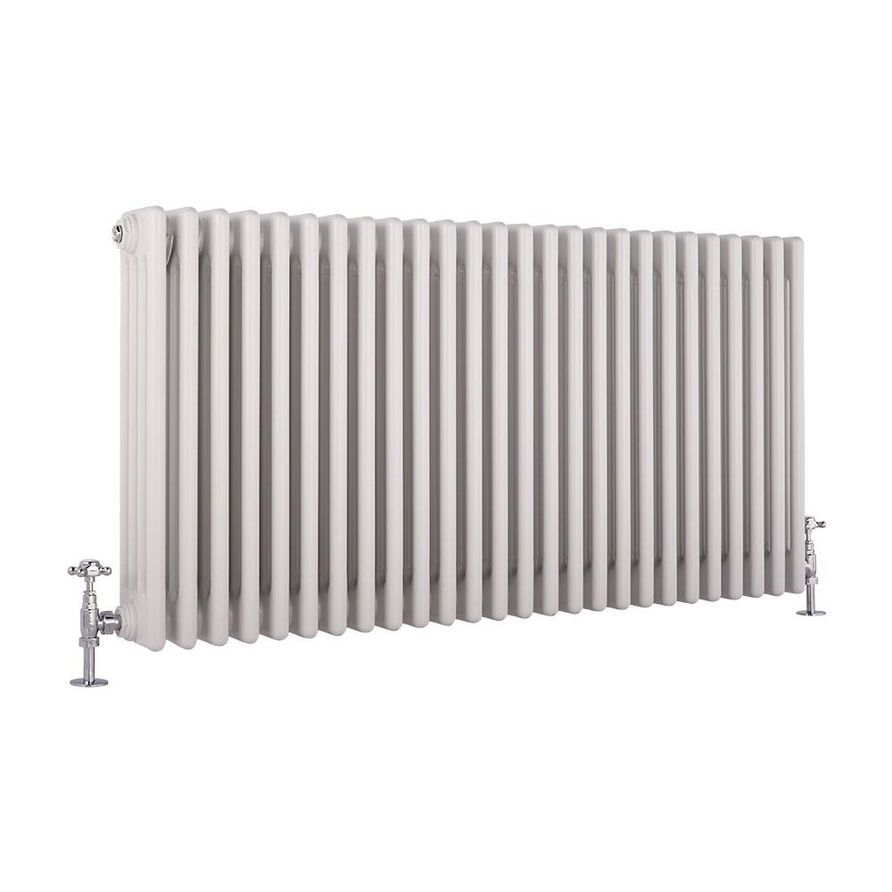 Radiatore di Design Orizzontale a 4 Colonne Tradizionale - Bianco - 600mm x 1170mm x 133mm - 2467 Watt - Regent