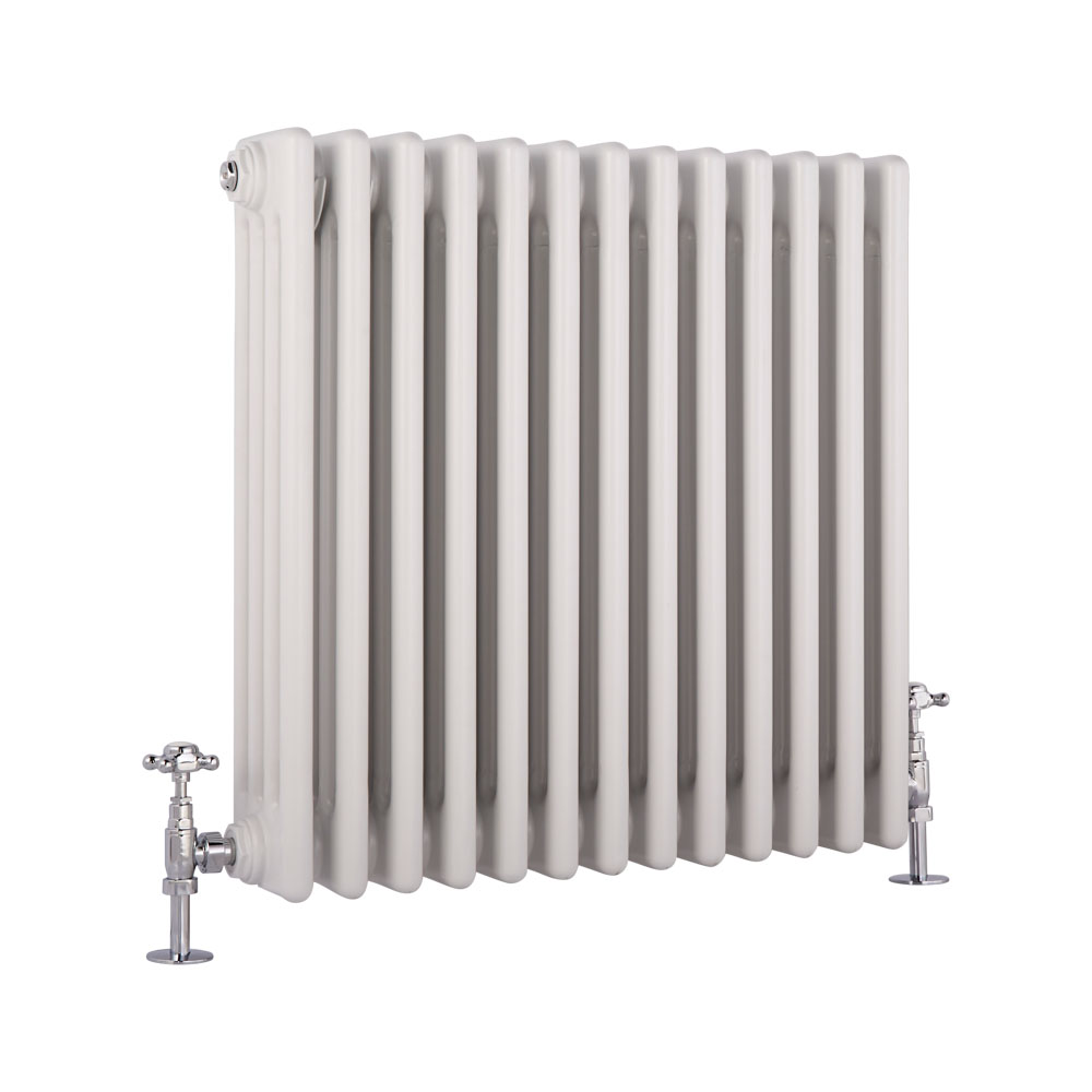 Radiatore di Design Orizzontale a 4 Colonne Tradizionale - Bianco - 600mm x 585mm x 133mm - 1234 Watt - Regent