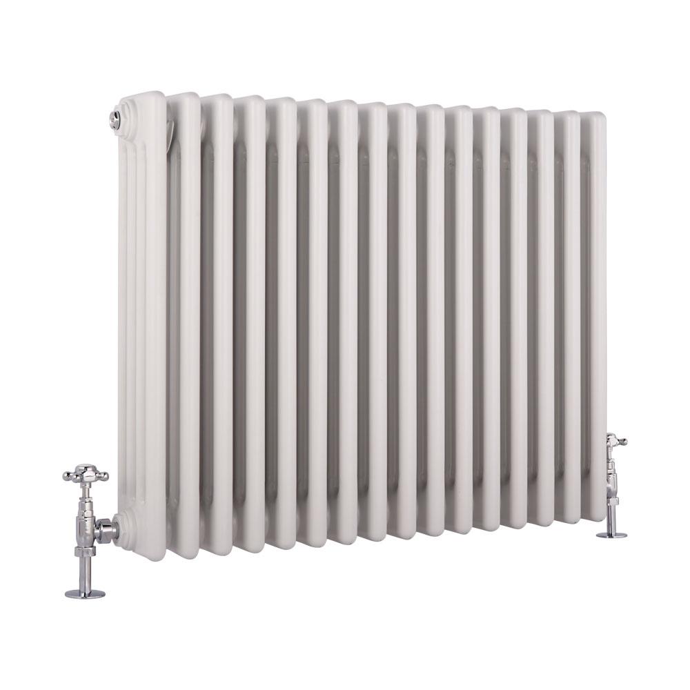 Radiatore di Design Orizzontale a 4 Colonne Tradizionale - Bianco - 600mm x 765mm x 133mm - 1613 Watt - Regent