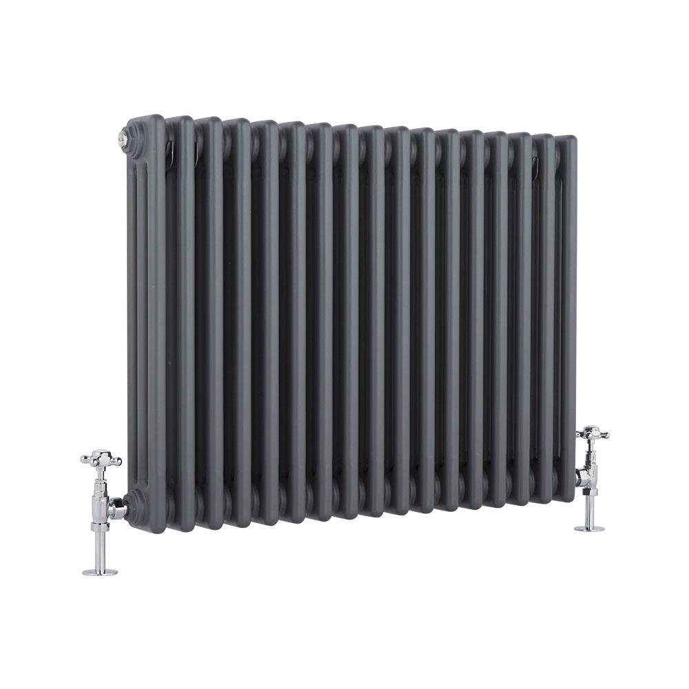Radiatore di Design Orizzontale a 3 Colonne Tradizionale - Antracite - 600mm x 765mm x 100mm - 1386 Watt - Regent
