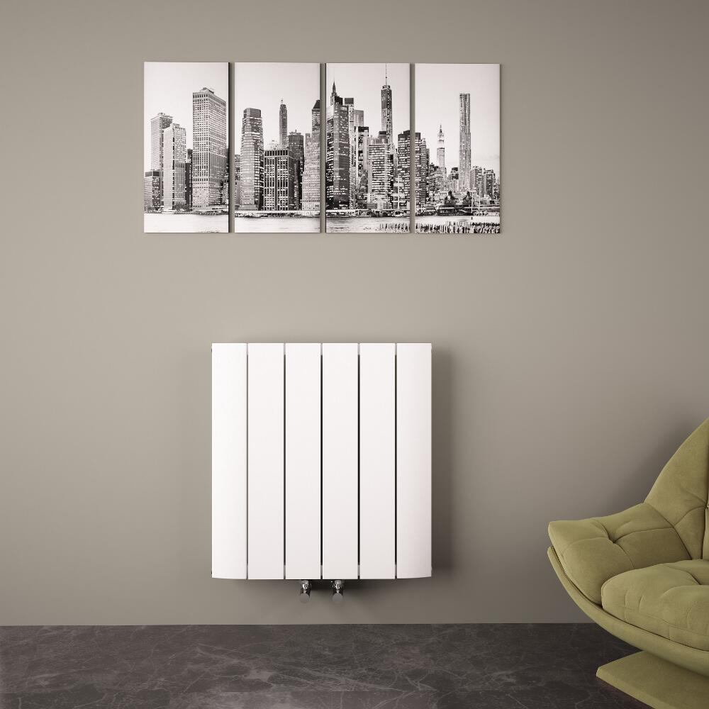 Radiatore di Design Orizzontale con Attacco Centrale - Alluminio - Bianco - 600mm x 565mm x 46mm - 768 Watt - Aurora