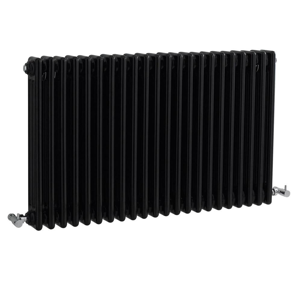 Radiatore di Design Orizzontale a 3 Colonne Tradizionale - Nero - 600mm x 1010m x 100mm - 2217 Vatios - Regent