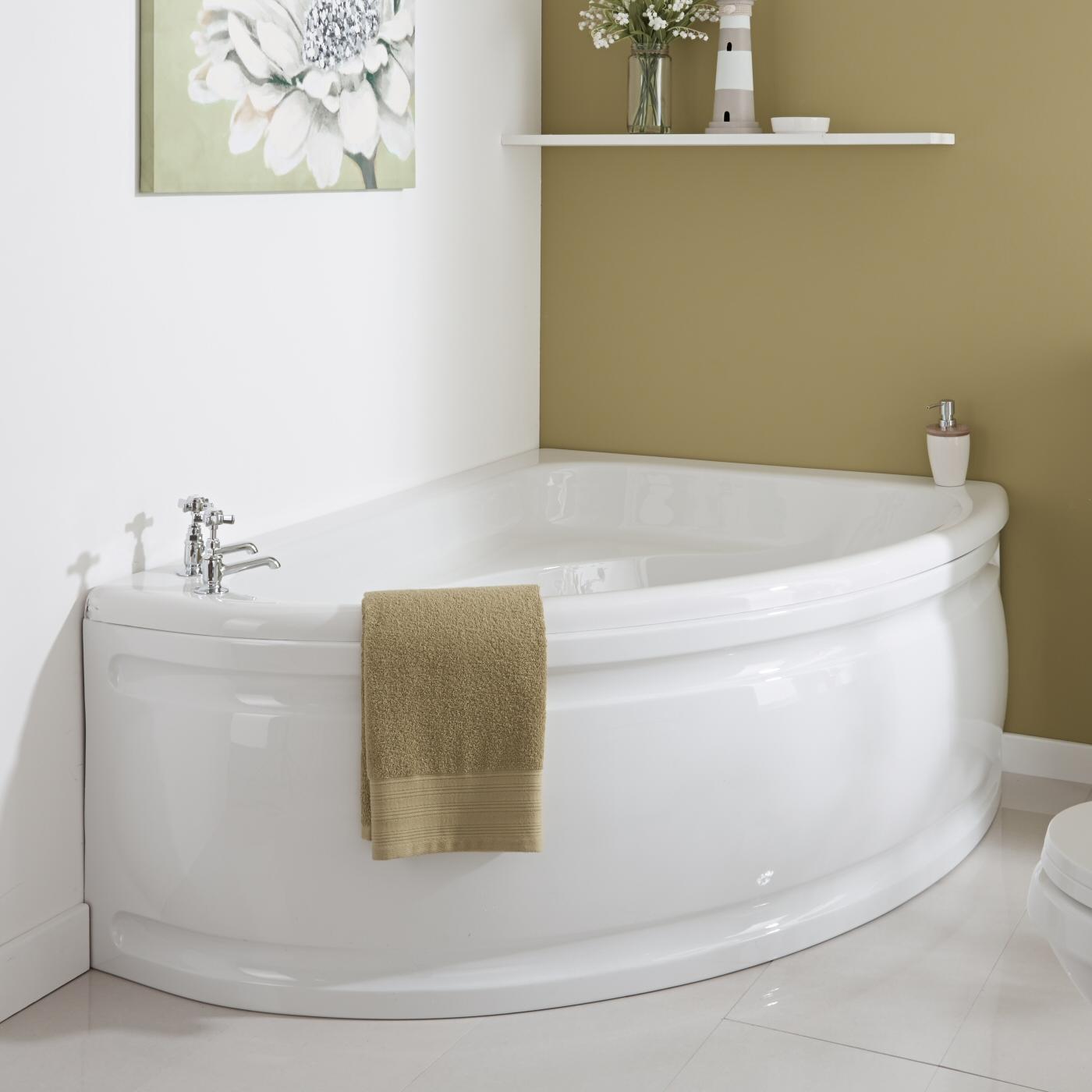 Vasca da Bagno 150x102cm in Acrilico Versione Angolare Destra con Pannello