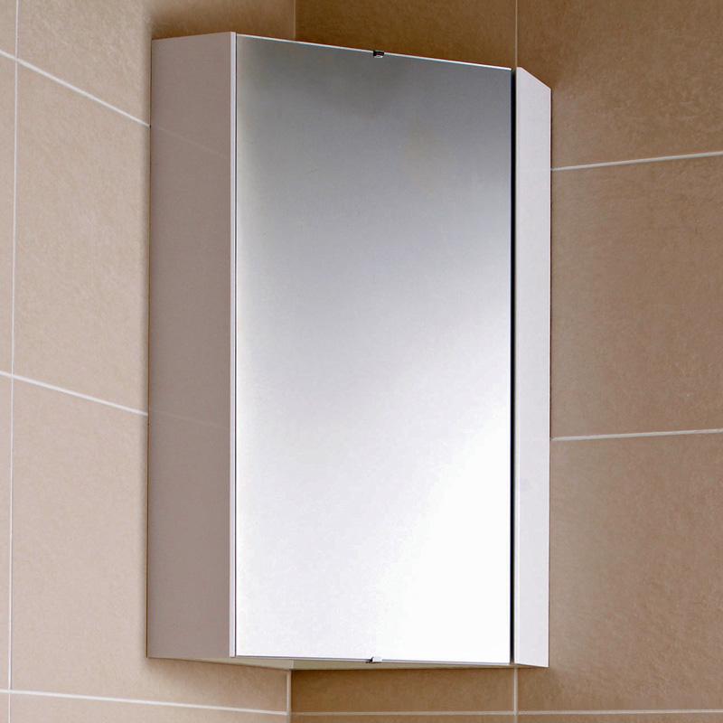 Specchio Contenitore Bagno Bianco ad Angolo