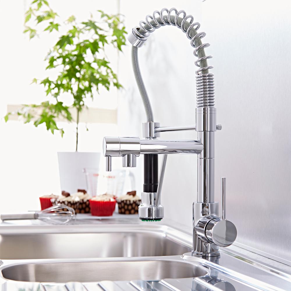 Rubinetto miscelatore monocomando lavello cucina con doccia senza scarico - Scarico lavello cucina ...