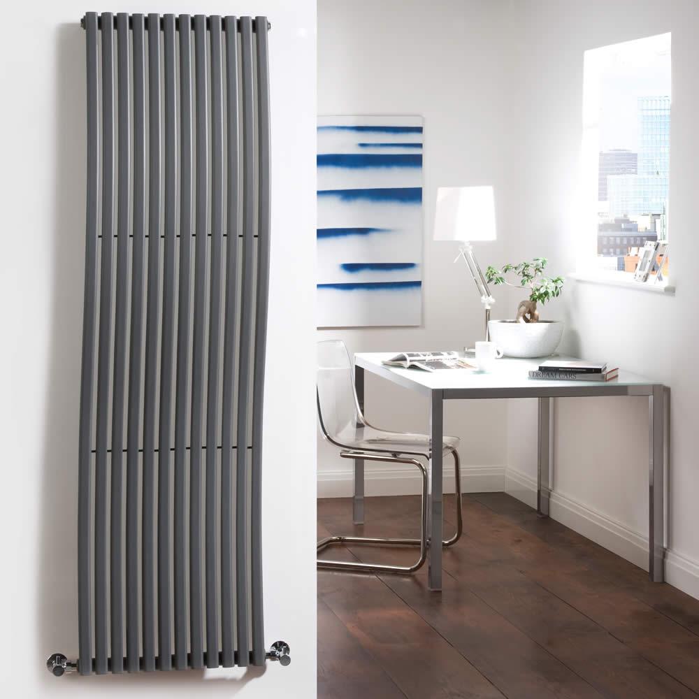 Radiatore di Design Verticale - Antracite - 1600mm x 460mm x 90mm - 1185 Watt - Roma