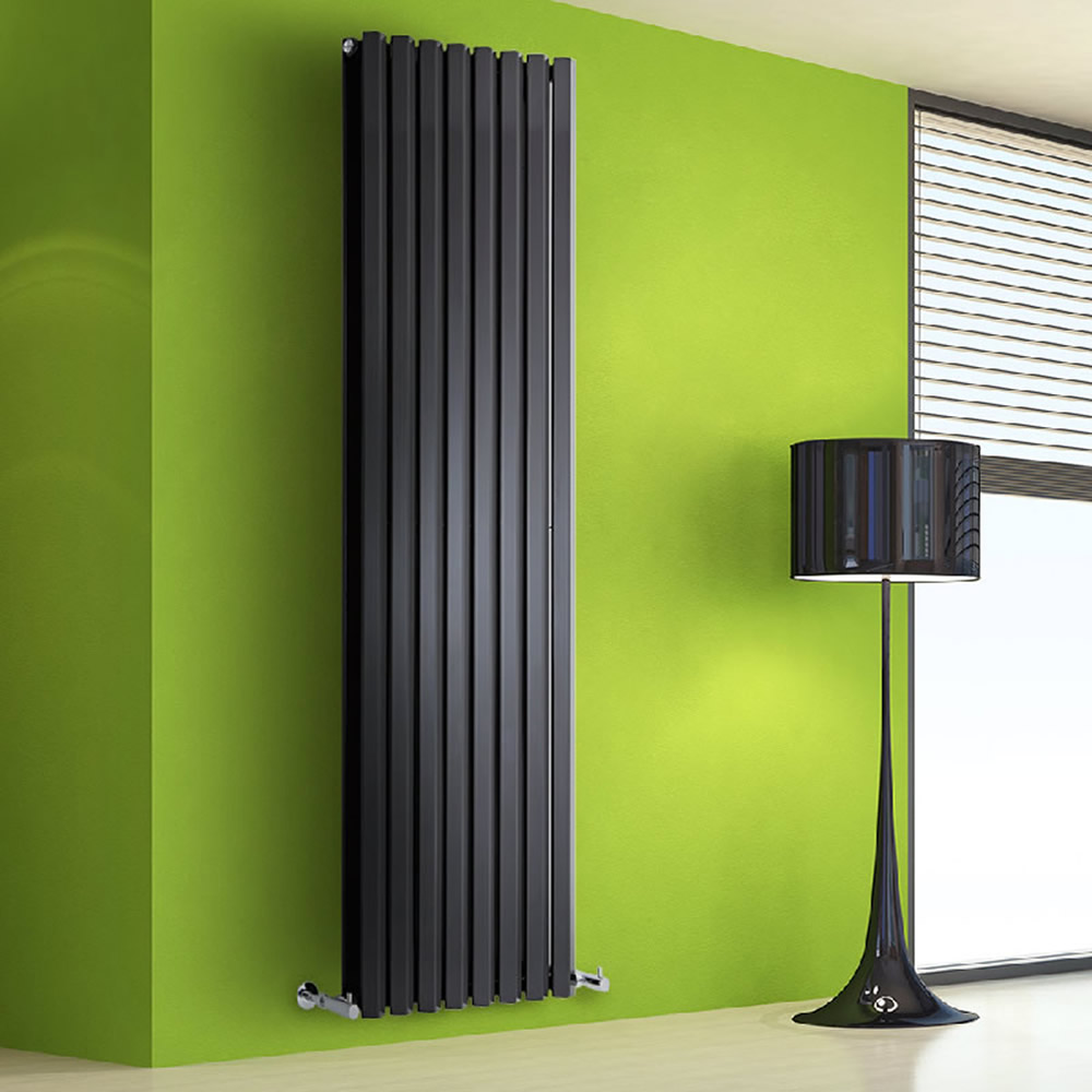 Radiatore di Design Verticale Doppio - Nero Lucido - 1780mm x 560mm x 86mm - 2158 Watt - Rombo