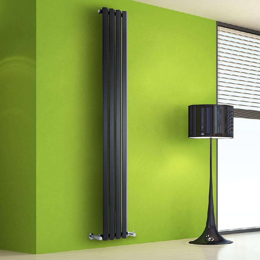 Radiatore di Design Verticale - Nero Lucido - 1780mm x 280mm x 60mm - 700 Watt - Rombo