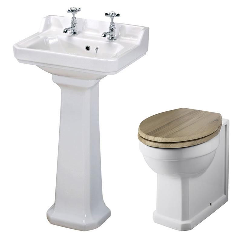 Set Bagno Completo di Lavabo e Sanitario Retro con Scelta di Sedili Copri WC - Old London