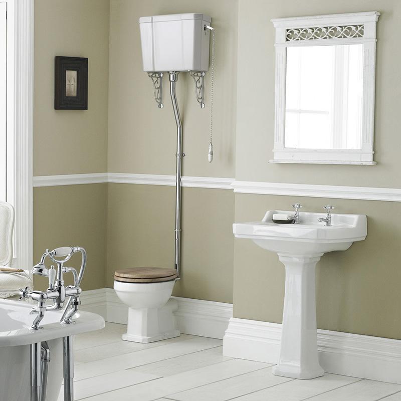 Set Bagno Completo di Lavabo e Sanitario Retro con Cassetta Alta e Scelta di Sedili Copri WC - Ceramica Bianca