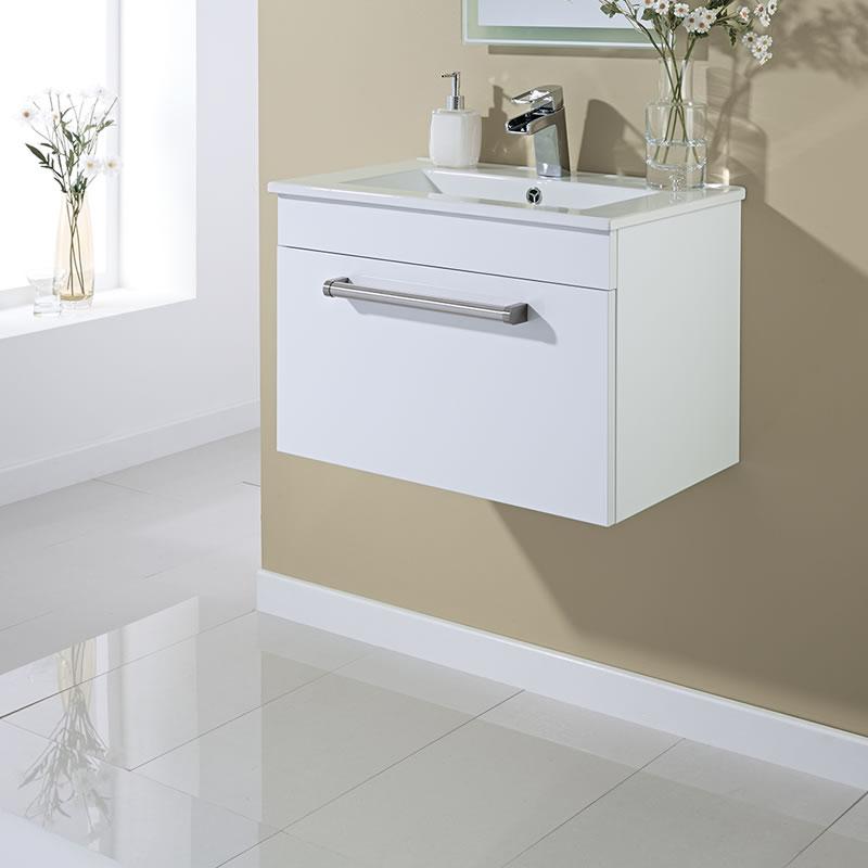 Mobile Bagno Sospeso Colore Bianco Laccato 605mm x 409mm con Lavabo Integrato e 1 Cassetto