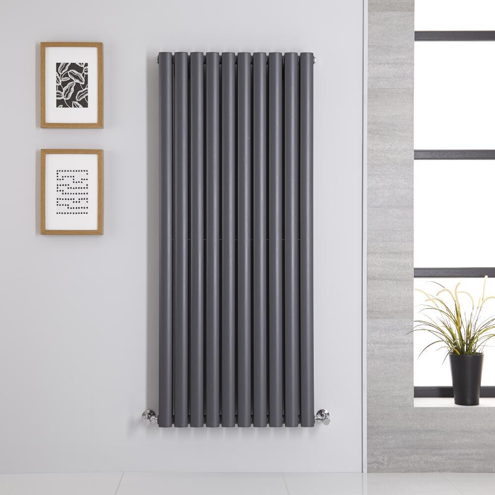 Radiatore di Design Verticale Doppio - Antracite - 1400mm x 590mm x 78mm - 1740 Watt - Revive