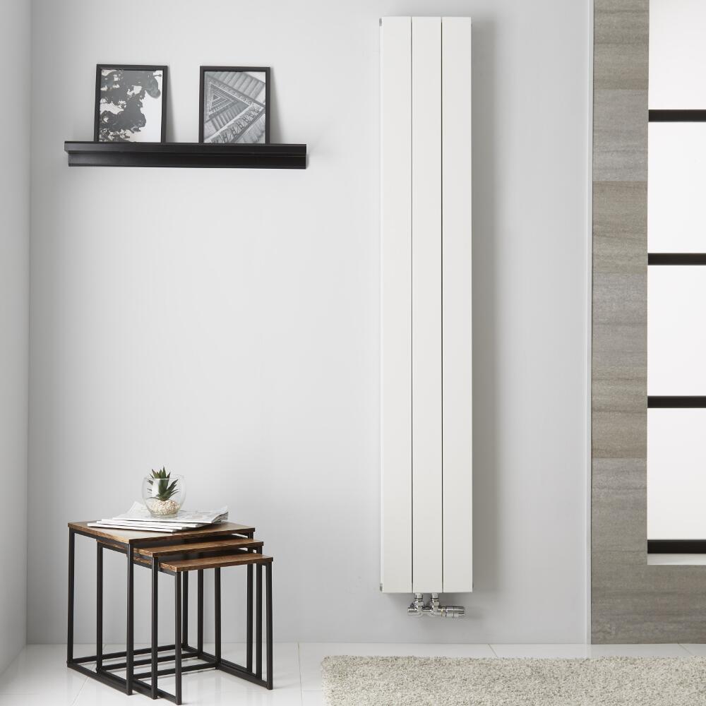 Radiatore di Design Verticale  Doppio con Attacco Centrale - Alluminio - Bianco - 1800mm x 280mm x 67mm  - 1119  Watt - Kett