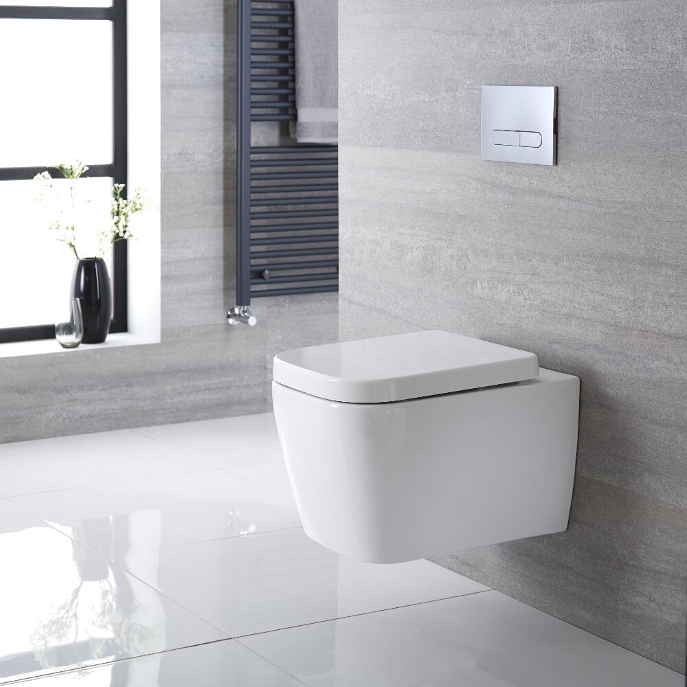 Sanitario Bagno WC Quadrato Sospeso 535x390x445mm con Coprivaso - Longton