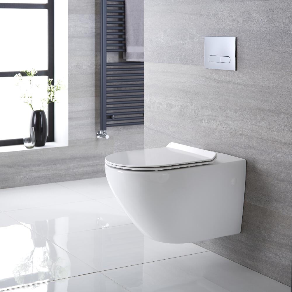 Sanitario Bagno WC Ovale Sospeso 340x360x585mm con Sedile Copri WC Soft Close - Otterton