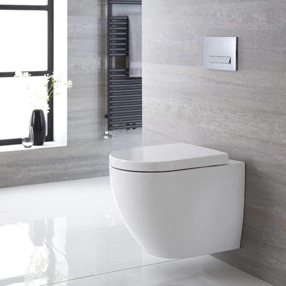 Sanitario Bagno WC Ovale Sospeso 385x365 x555mm con Sedile Copri WC Soft Close -  Ashbury