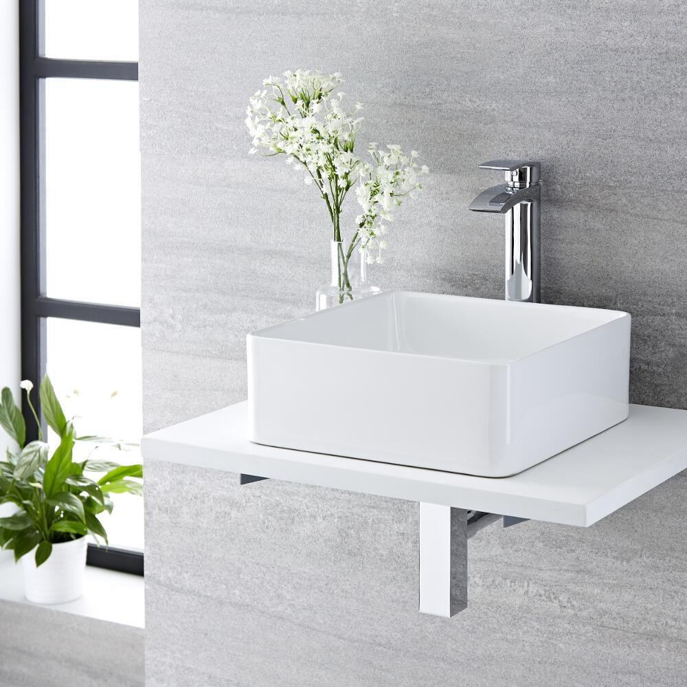 Lavabo Bagno da Appoggio Quadrato in Ceramica 360x360mm con Rubinetto Miscelatore - Alswear