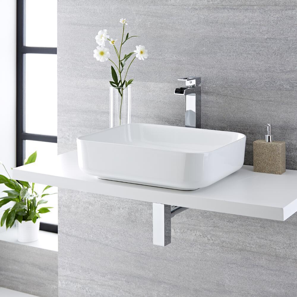 Lavabo Bagno da Appoggio Rettangolare in Ceramica 500x390mm Completo con Rubinetto Monoforo  – Milton