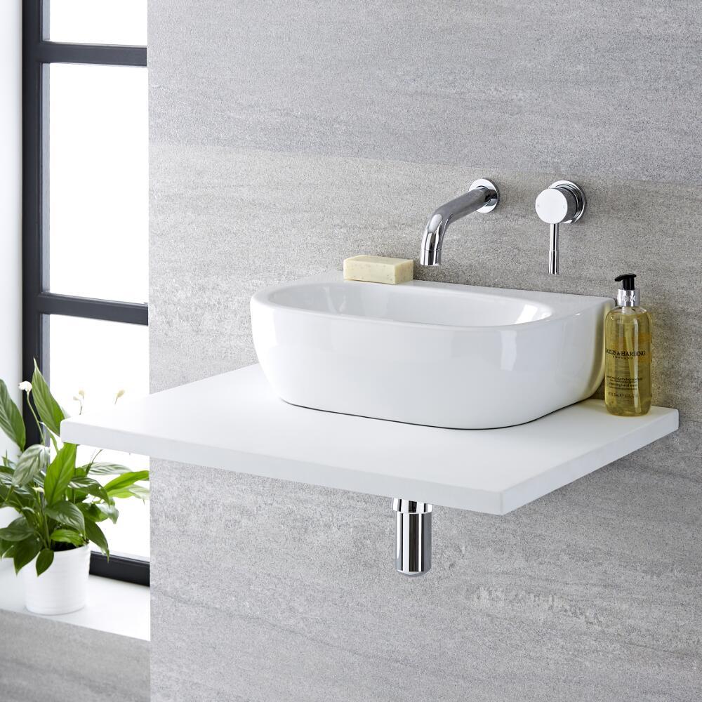 Lavabo Bagno da Appoggio in Ceramica Ovale 420x280mm - Langtree
