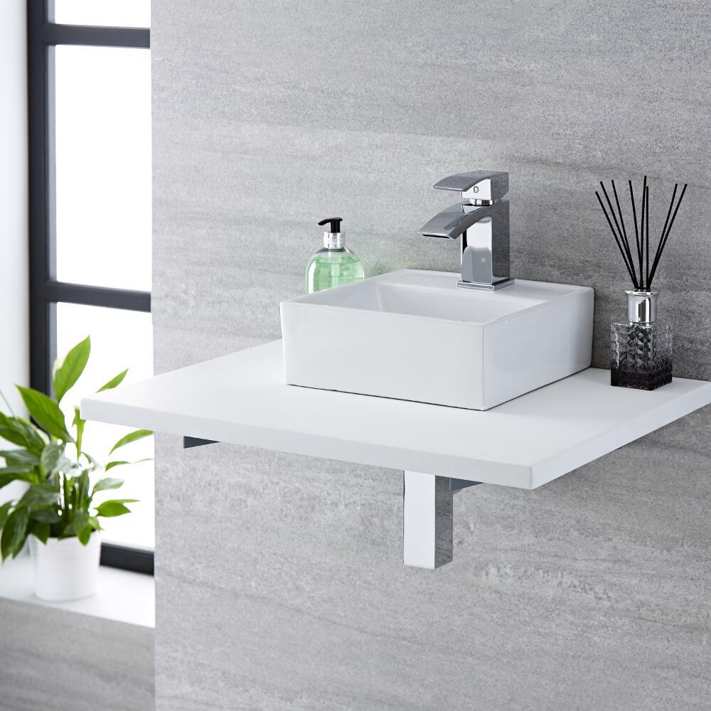 Lavabo Bagno da Appoggio Quadrato in Ceramica 280x280mm - Halwell