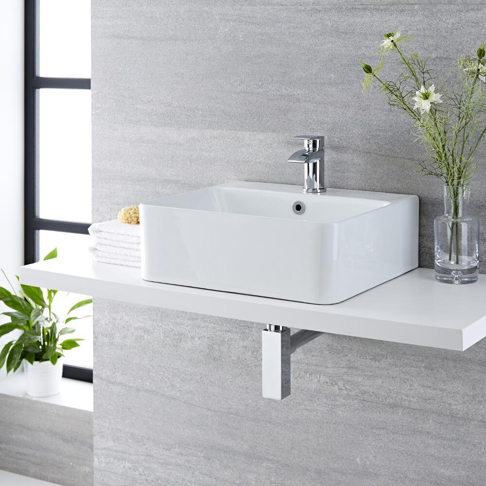 Lavabo Bagno da Appoggio Sospeso in Ceramica Rettangolare 460x420mm - Exton