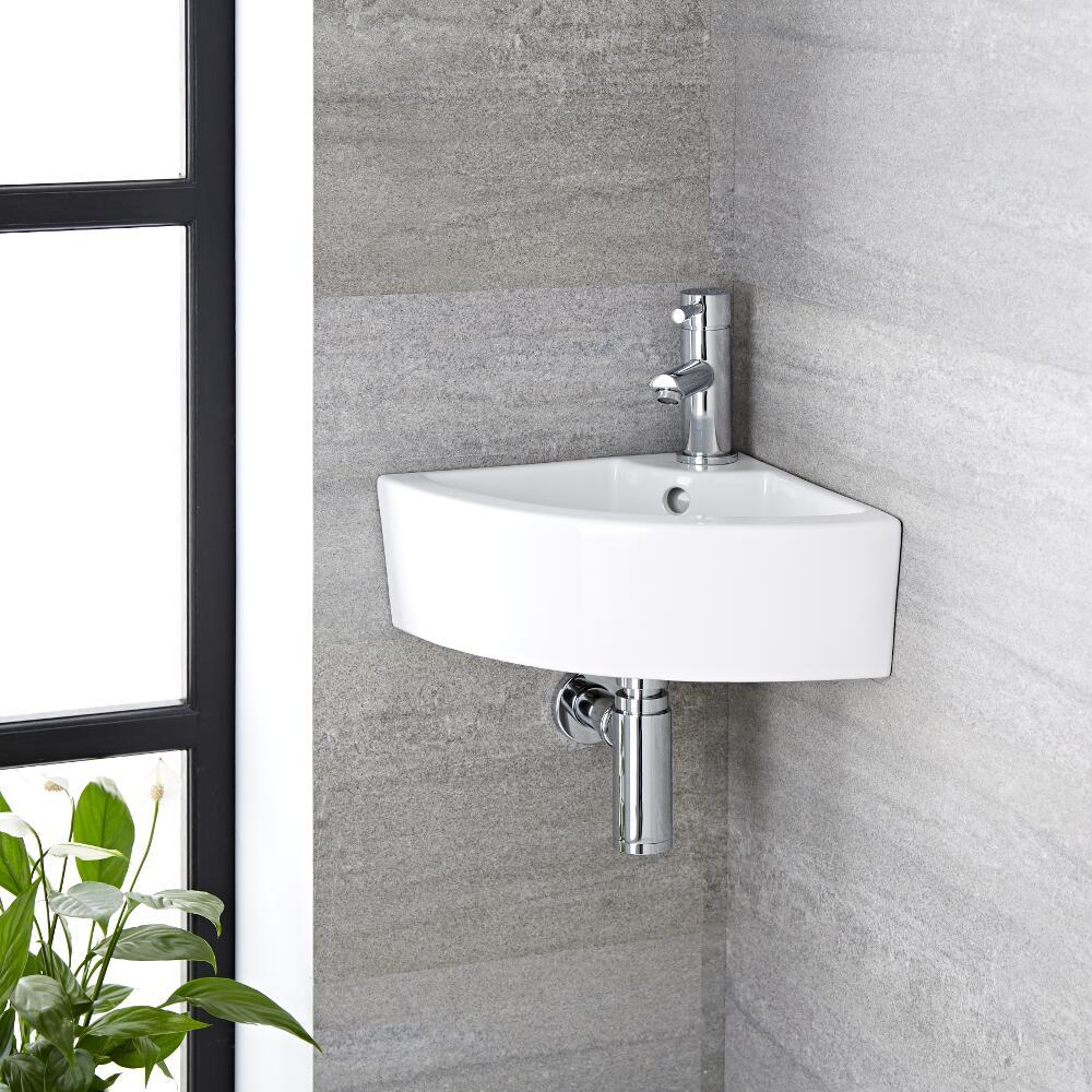 Lavabo Bagno da Appoggio Sospeso in Ceramica Tondo 460x320mm - Belstone