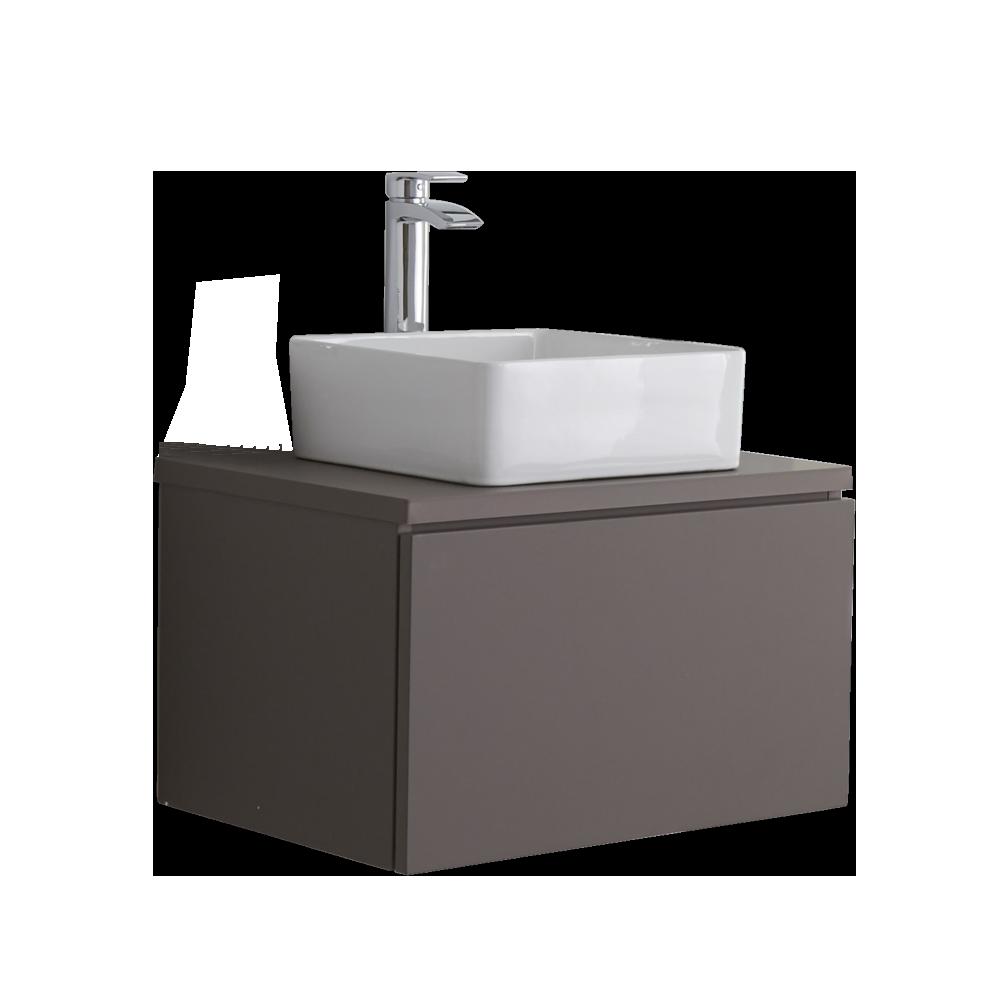 Mobile Bagno 600mm Colore Grigio Opaco con Lavabo da Appoggio - Newington