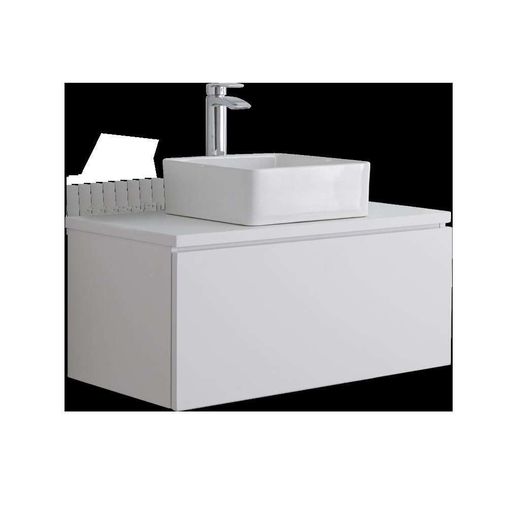 Mobile Bagno Murale 800mm Colore Bianco Opaco con Lavabo da Appoggio - Newington
