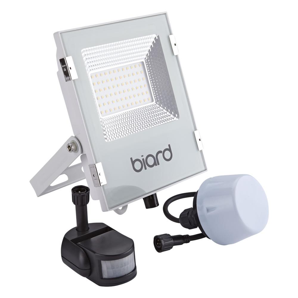 Biard Faro Proiettore Piatto Bianco 30W con Sensore PIR o Sensore Crepuscolare