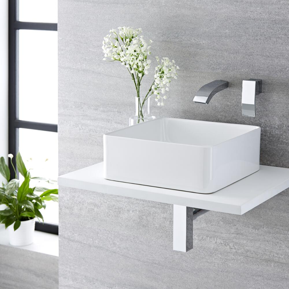 Lavabo Bagno da Appoggio Quadrato in Ceramica 360x360mm con Rubinetto Miscelatore per Lavabo - Alswear