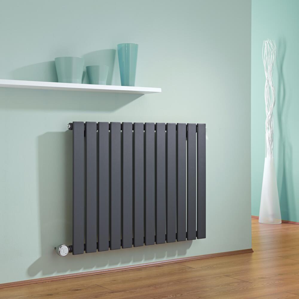Radiatore di Design Elettrico Orizzontale - Antracite - 635mm x 840mm x 46mm  - Elemento Termostatico  600W  - Delta