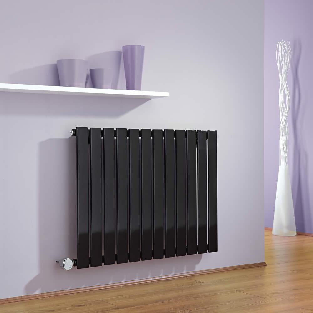 Radiatore di Design Elettrico Orizzontale - Nero - 635mm x 840mm x 46mm  - Elemento Termostatico 600W  - Delta