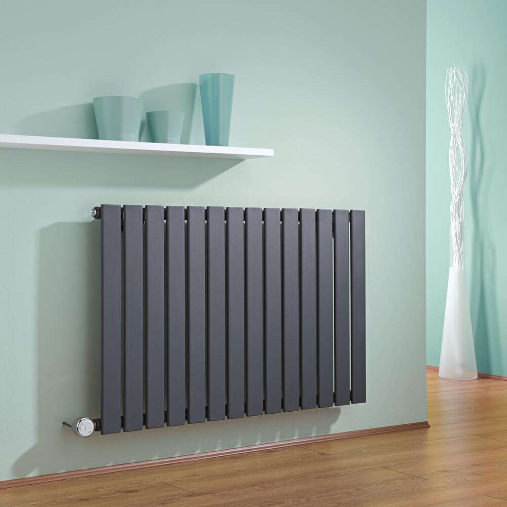 Radiatore di Design Elettrico Orizzontale - Antracite - 635mm x 980mm x 46mm  - Elemento Termostatico  600W  - Delta