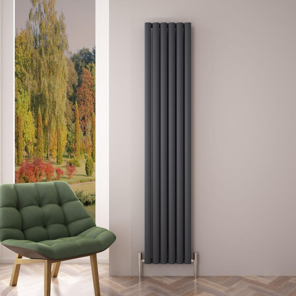 Radiatore di Design Verticale Doppio - Antracite - 1800mm x 350mm x 76mm - 1502 Watt - Revive Air