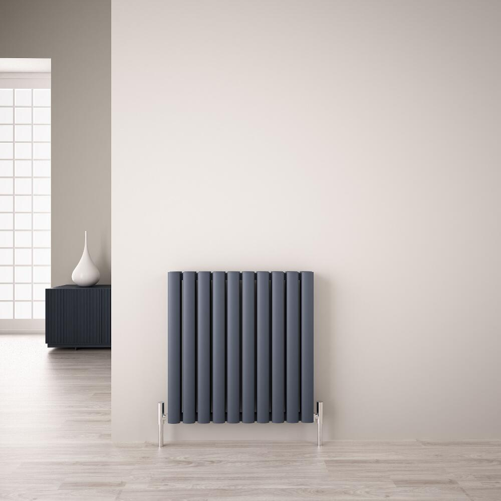 Radiatore di Design Orizzontale Doppio - Antracite - 600mm x 590mm x 76mm - 1149 Watt - Revive Air