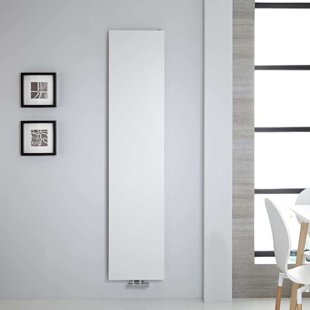 Radiatore di Design Verticale - Piastra Radiante - Attacchi Centrali - Acciaio - Bianco - 1800mm x 400mm - 842 Watt - Rubi