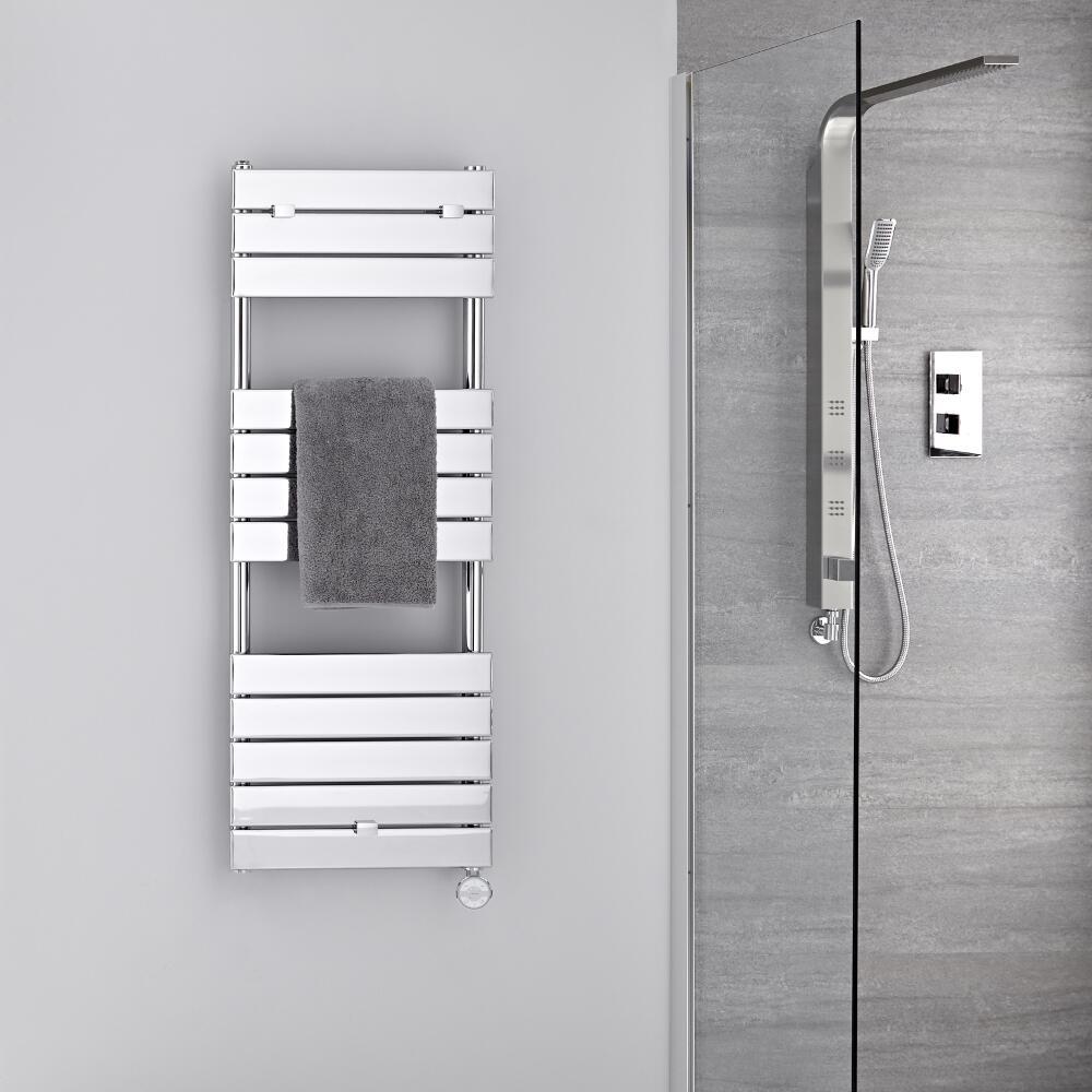 Radiatore Scaldasalviette Elettrico -  Piatto - Cromato - 1213mm x 450mm - Lustro