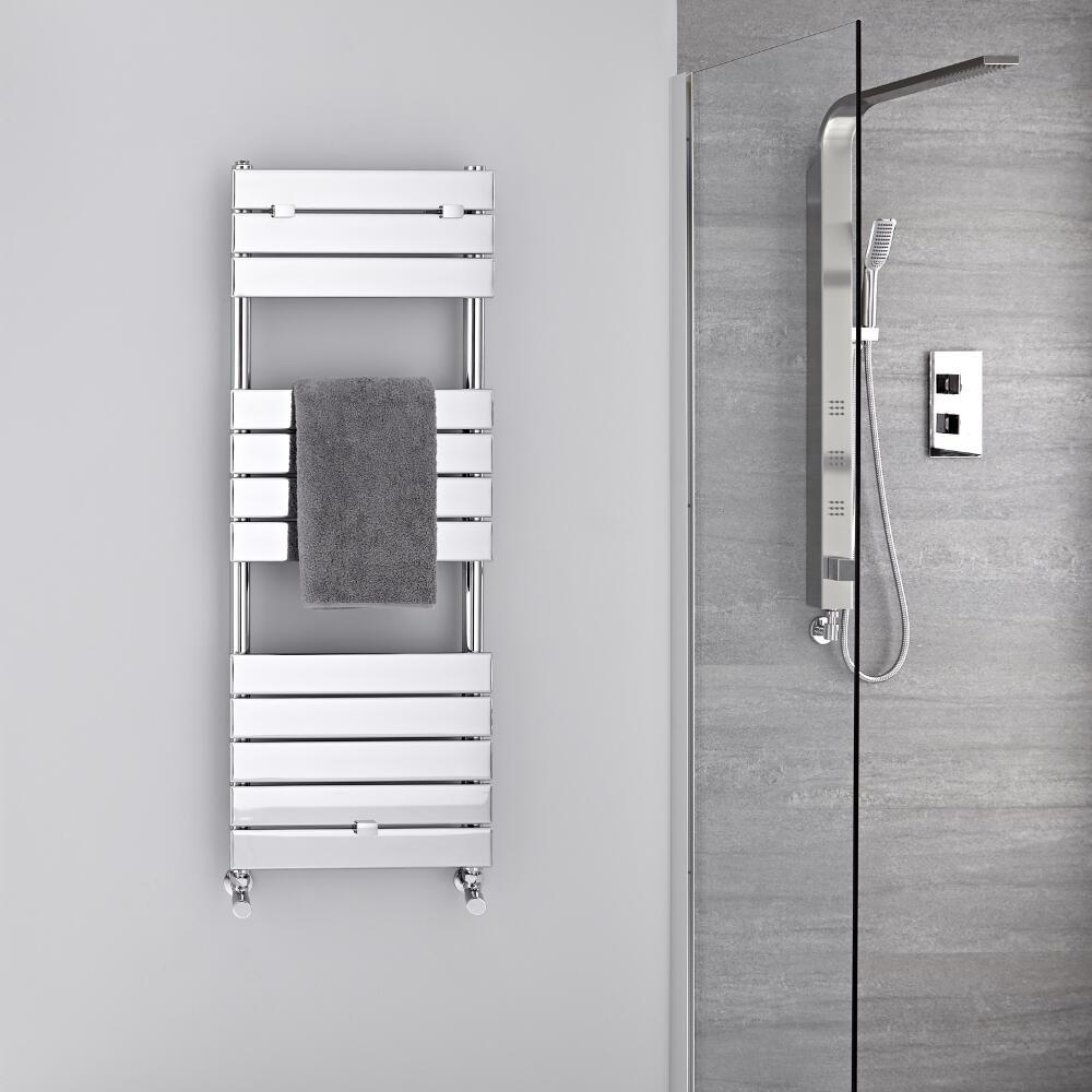 Radiatore Scaldasalviette - Piatto - Cromato - 1213mm x 450mm  - 374 Watt - Lustro