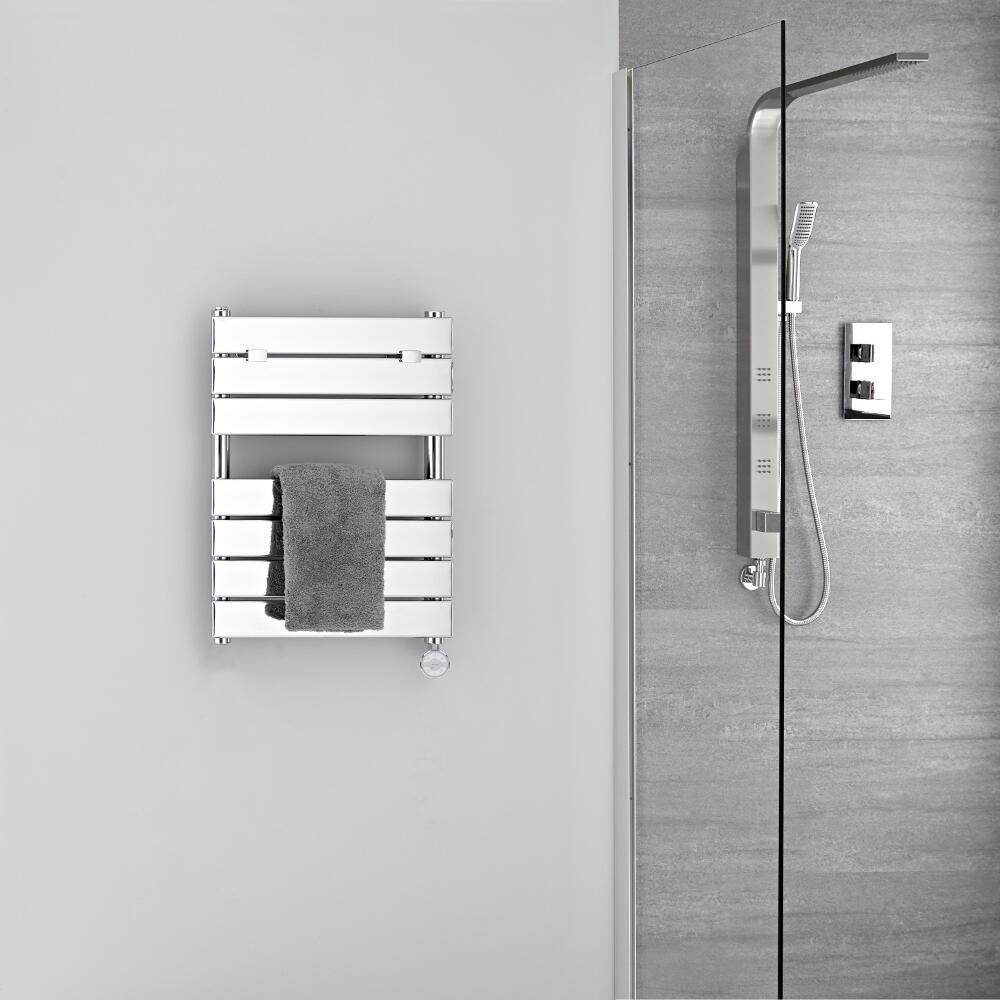 Radiatore Scaldasalviette Elettrico - Piatto - Cromato - 620mm x 455mm - Lustro