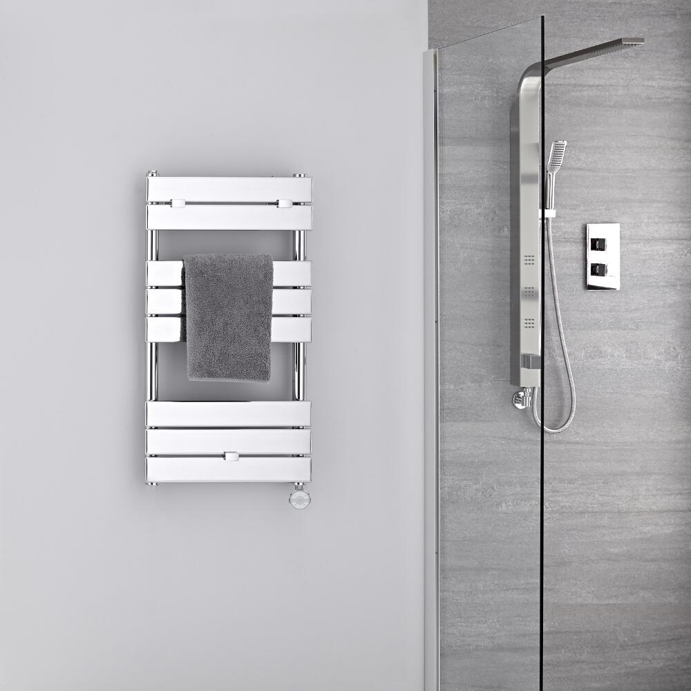 Radiatore Scaldasalviette Elettrico - Piatto - Cromato - 840mm x 450mm - Lustro