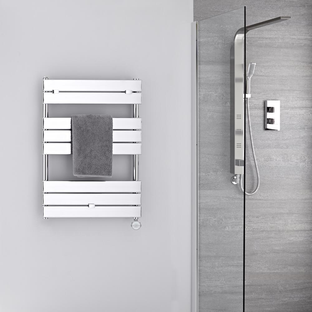 Radiatore Scaldasalviette Elettrico -  Piatto - Cromato - 840mm x 600mm - Lustro