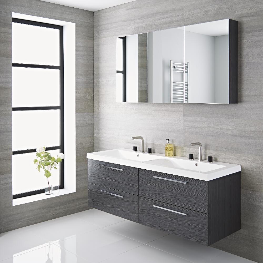 Mobile bagno sospeso doppio colore grigio 1440x510x550mm - Lavabo sospeso con mobile ...