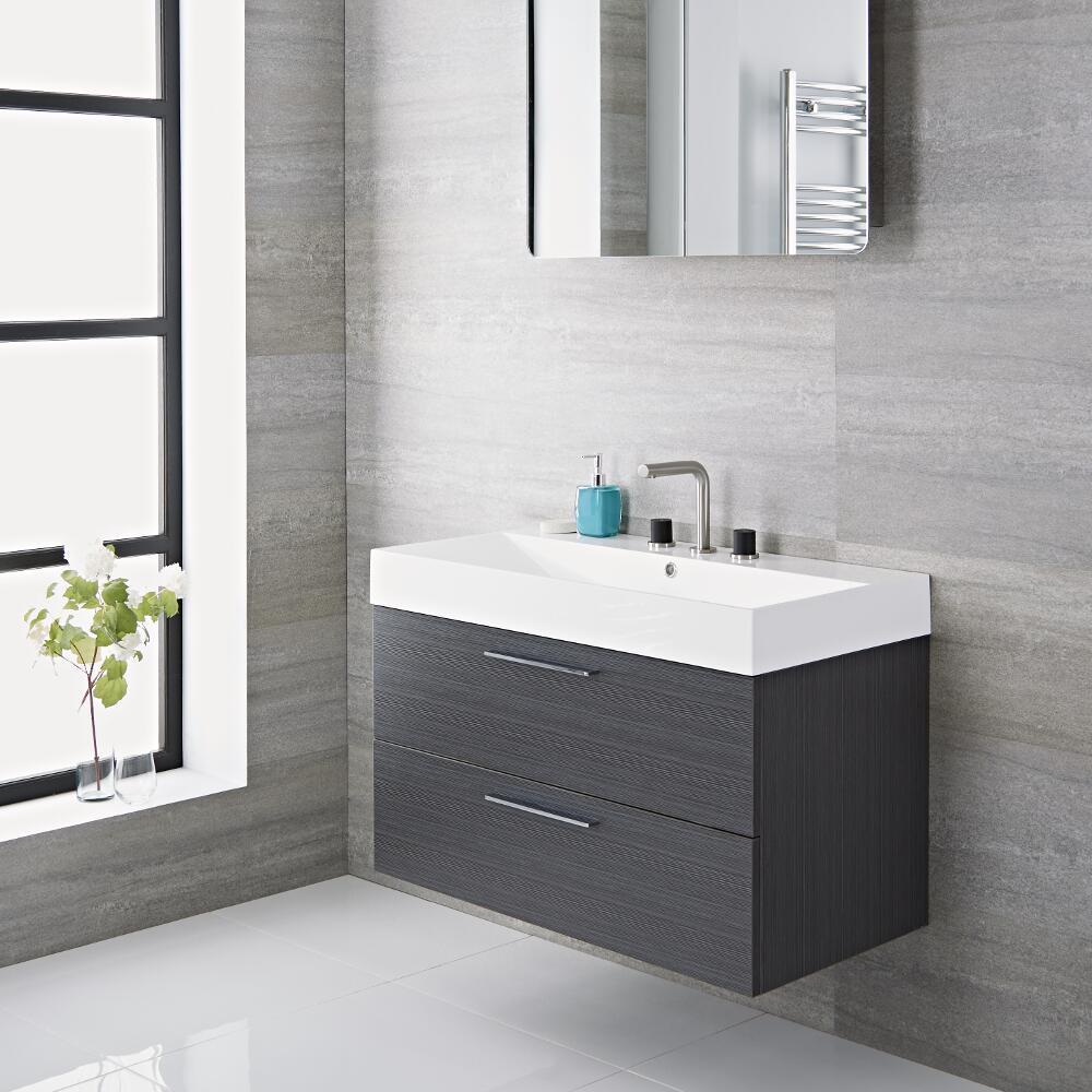 Mobile bagno sospeso colore grigio 900x480x600mm con lavabo integrato langley - Lavandini con mobile bagno ...